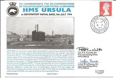 HMS Ursula official Navy cover signed by G B Thomas & P B Hinchcliffe M811