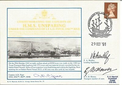 HMS Unsparing first U-class submarine official triple signed Navy cover.  M791