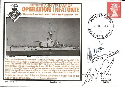 Operation Infatuate official triple signed Navy cover. 50th anniversary  M663