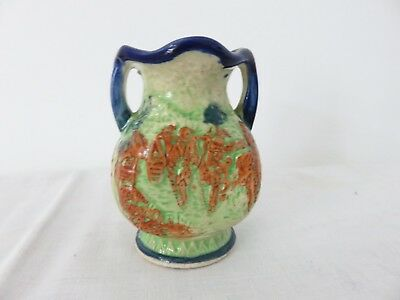 "Small 4"" Tall Antique Japanese Majolica Vase Made In Japan"