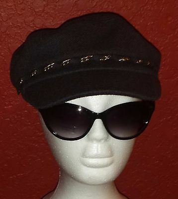 d2d2822efb51d HAT ATTACK NWT $54 denim blue with gold chain wool newsboy hat cap one size