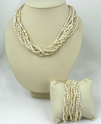 Beautiful 14k Yellow Gold & Fresh Water Pearl Necklace & Bracelet Set