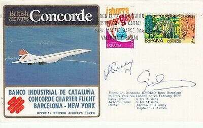 BA Concorde. Charter flight  Barcelona to New York Signed both Concore Pilots