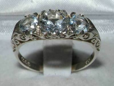 English Solid 925 Sterling Silver Natural Aquamarine Antique Style Trilogy Ring