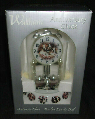 Nib Waltham Anniversary Clock - Puppies - Westminster Chime