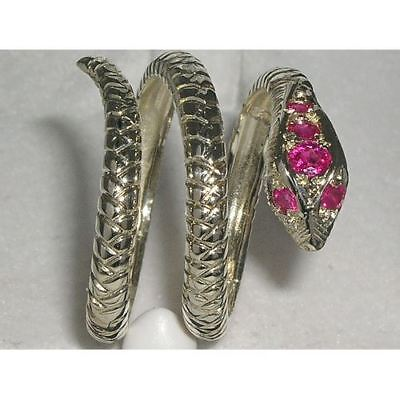 English Hallmarked Solid 925 Sterling Silver Natural Ruby Snake Serpant Ring
