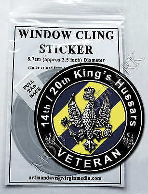 14th/20th KING'S HUSSARS, VETERAN WINDOW CLING STICKER  8.7cm Diameter