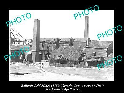 OLD LARGE HISTORIC PHOTO OF BALLARAT VICTORIA, GOLD MINES & CHINESE STORE  c1880