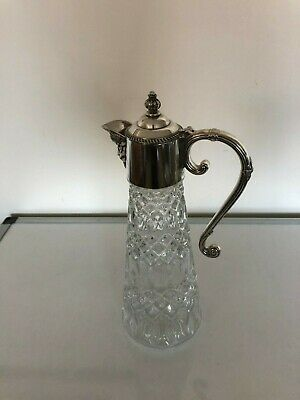 Lovely Silver Plated And Cut Glass Lovely Design /Wine Claret Jug (Cj 11T)
