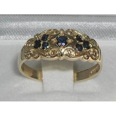High Quality Solid 9ct Gold  Natural Sapphire Vintage Style Carved Band Ring