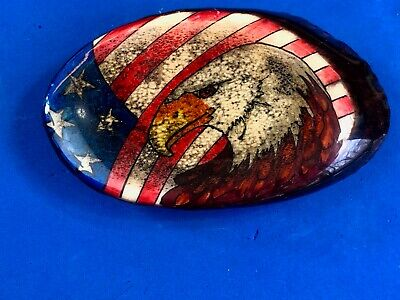 patriotic American Bald eagle head bust with USA flag oval belt buckle