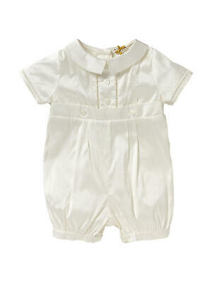 John Lewis Baby Silk Button Christening Romper / Cream 18-24 Mths Brand New