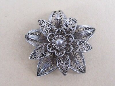 ANTIQUE VICTORIAN STYLE FILIGREE St. SILVER BEAUTIFUL BROOCH