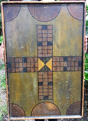 RARE Antique Pattern 19th C. Double-Sided Gameboard Square Nails, Original Paint