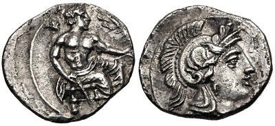 CILICIA, Uncertain. AR Obol (10mm, 0.62 g, 6h). Baal of Tarsos seated right