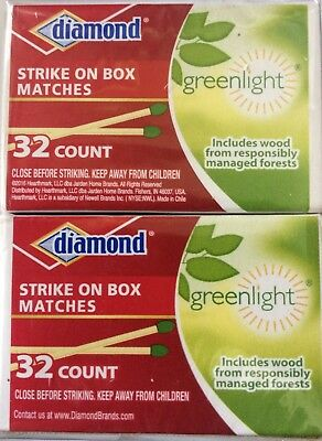 GreenLight Diamond Strike on Box Matches, 32 Count (each box) Pack of 10.