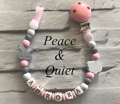 Personalised Dummy Clip💖Wooden⭐️Dummy Chain💖Bunny⭐️pink💖girl ⭐️gift #WWW