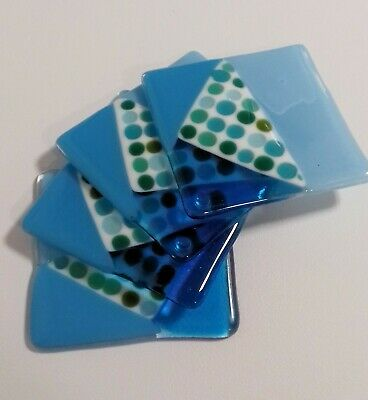 Jane Field Fused GlassSet of Four Handmade Coasters in Gift Box