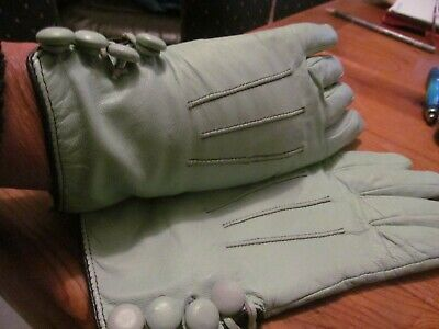 vintage retro pale blue kookai button cuff leather gloves small  size 6