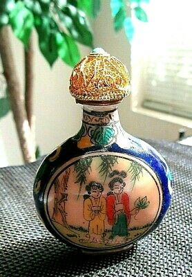 Antique Painted Cloisonne Style Glass Snuff Bottle with Gold Top and Spoon