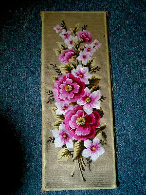 PrettyTapestry Needlework, Mounted on Board Pink Roses etc