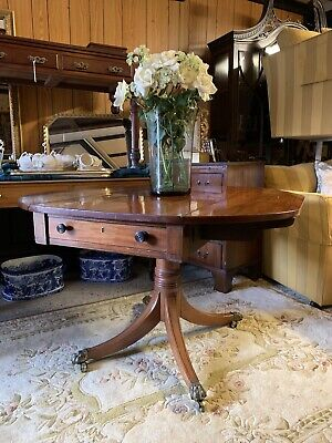 Mahogany Drop Leaf Pembroke Centre Table With Drawer To Each End