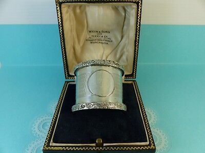 Antique Sterling Silver Heavy Patterned Napkin Serviette Ring 1912 43grams Boxed