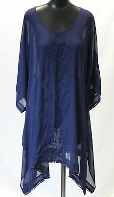 83bdae95a4 Lands' End Women's Embroidered Dolman Caftan Swim Cover-Up SV3 Blue Small  Tall