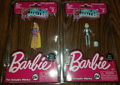 """Worlds Smallest Barbie Series 2 - Totally Hair & 1965 Astronaut 3"""" (2 Barbie's)"""