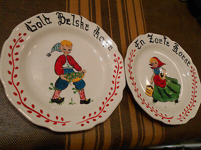 Antique Hand Painted Belgian Plates Very Old Folk Art Grand Mothers Unique Nice!