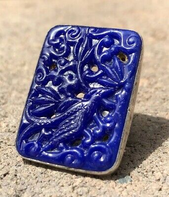 Vintage Art Deco Sterling Silver Molded Blue Lapis Glass Floral Bird Panel Ring