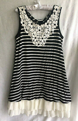 22b4574e5 Knitworks Size 7 Little Girls Jersey Black & Cream Dress Lace & Jewel accent