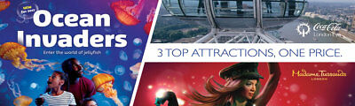 1 x Adult Ticket - London Top 3 Attractions RRP £90 = pay £50pp = 45% DISCOUNT