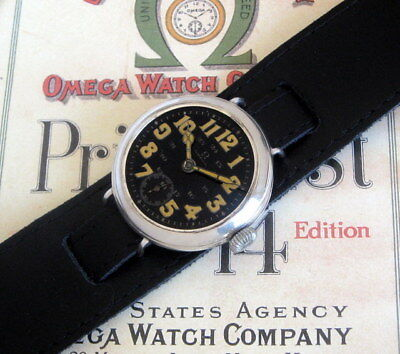 Very Old Vintage 1915 WW1 Omega Black Enamel Officers Military Trench Mens Watch