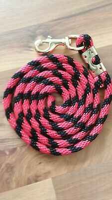Horse Nylon poly round Lead Rope 70 inches with brass Swivel Snap red//black