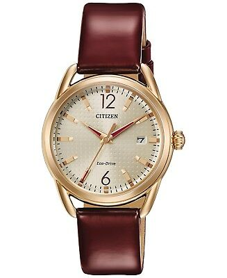 *BRAND NEW* Citizen Women's Eco-Drive Burgundy Leather  Steel Watch FE6083-05P