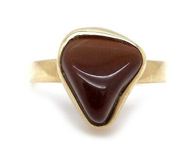 14k Yellow Gold Odd Shaped Cabochon Tiger Eye Solitaire Dome Ring Size 7.5