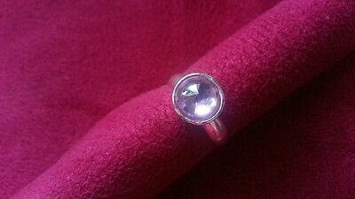 Beautiful Pink Glass Solid Silver Ring 925 Real Sterling Silver *Size 5 *Y56