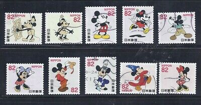 Japan 2018 Disney Mickey & Minnie Mouse Complete Used Set 82Y Scott# 4224 a-j