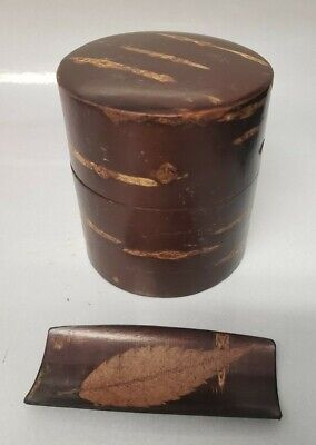 "Cherry Bark Tea Canister And Scoop - Japan - 2 5/8"" Tall"