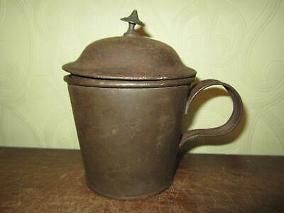 A scarce toleware / tin mug with hinged cover