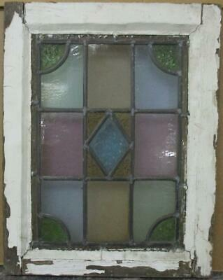 """VICTORIAN ENGLISH LEADED STAINED GLASS WINDOW Gorgeous Diamond Design 14"""" x 18"""""""
