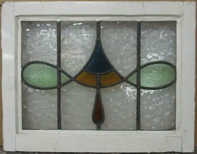 "OLD ENGLISH LEADED STAINED GLASS WINDOW Gorgeous Abstract Design 22"" x 17"""