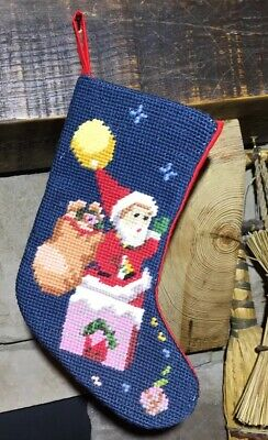 Vintage Needlepoint Christmas Stockings.Steinwinder U S A Small Vintage Needlepoint Christmas Stocking Santa