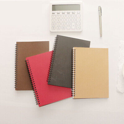 4pcs Notebook Portable Kraft Paper Spiral Coil Diary Exercise Schedule Book