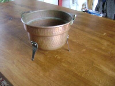 vintage french copper cauldron iron twist handle brass fittings and tripod feet