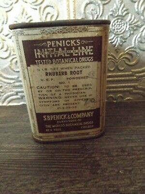 Antique S.B. Penick & Co Tin Botanical Drugs Rhubarb Root
