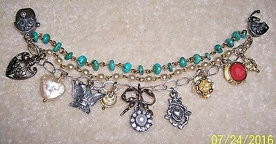 Extasia Genuine Special Turquoise,pearl & Silver Triple Strand Charm Bracelet