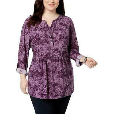 bade91ef34fc9 NY Collection Womens Purple Jersey Printed Pullover Top Blouse Plus 1X BHFO  8634