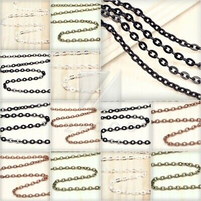 4M 13.12feet Flat Cable Chain Unfinished Chains Necklaces 3.25/3.8/4.2mm BF